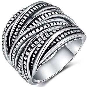 Oxidized Silver vintage look ring
